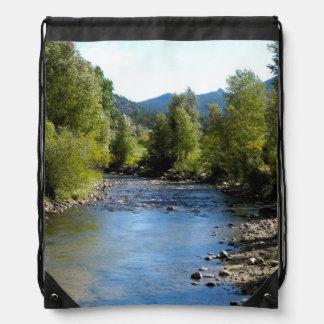 Colorado Stream photo - Estes Park Drawstring Backpacks
