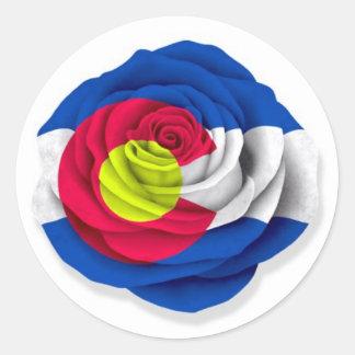 Colorado subió la bandera en blanco pegatina redonda