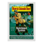 Colorado Time Rock Island System Travel Art Poster