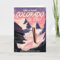 Colorado to Ski! Vintage travel poster Card
