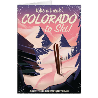 Colorado to Ski! Vintage travel poster Card