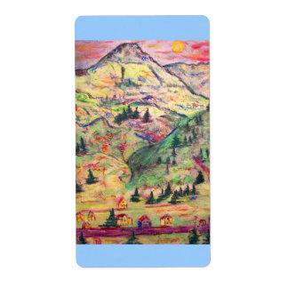 colorado town art shipping label