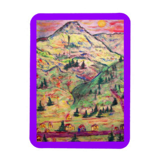 colorado town art rectangular photo magnet