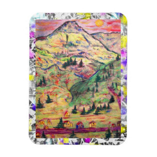 colorado town drip painting rectangular photo magnet