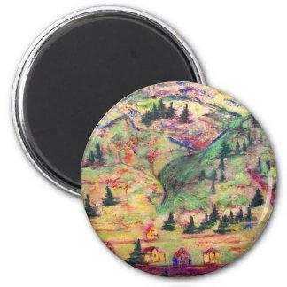 colorado town pastel 2 inch round magnet