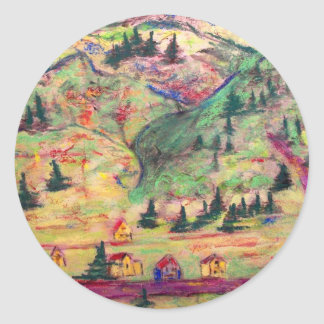 colorado town pastel classic round sticker