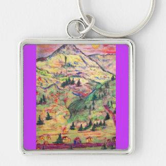 colorado  town Silver-Colored square keychain