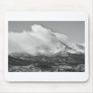 Colorado Twin Peaks Winter Weather View BW Mouse Pad