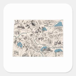 Colorado Vintage Picture Map Square Sticker