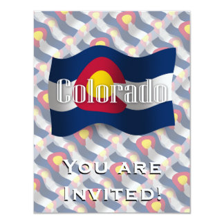 Colorado Waving Flag 4.25x5.5 Paper Invitation Card