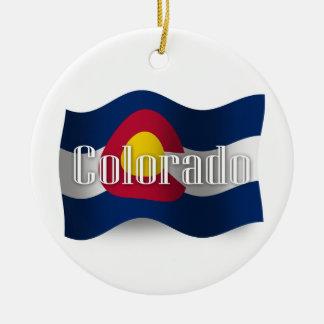 Colorado Waving Flag Ceramic Ornament