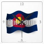 Colorado Waving Flag Square Wall Clocks
