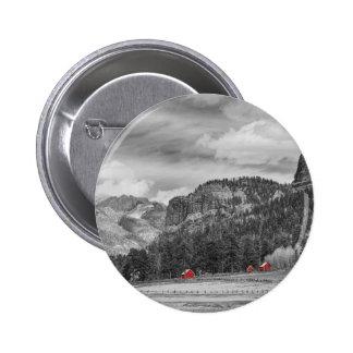 Colorado Western Landscape Red Barns 2 Inch Round Button