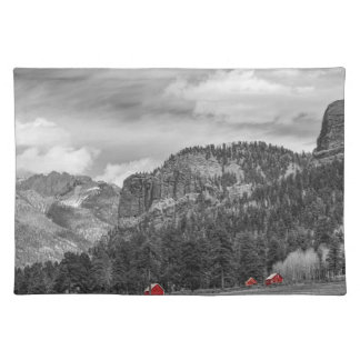 Colorado Western Landscape Red Barns Cloth Placemat