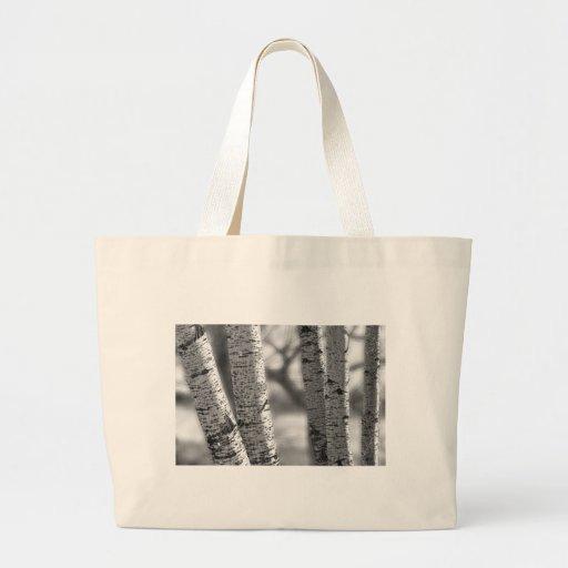 Colorado White Birch Trees in Black and White Jumbo Tote Bag