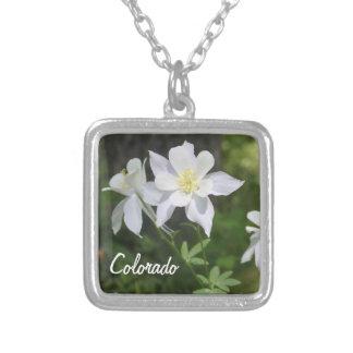 Colorado White Columbine Square Pendant Necklace