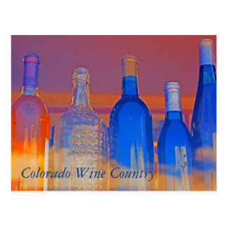 Colorado Wine Country Digital Paint Wine Bottles Postcard