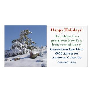 Colorado Winter Pine Corporate Christmas Photo Card