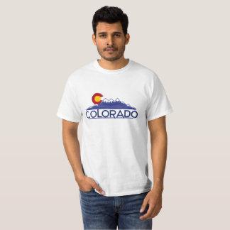 Colorado wood flag mountains tshirt