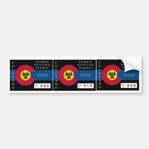 Colorado Zombie Hunting Permit Bumper Sticker