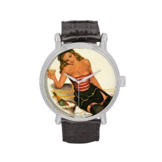 Colorante original 11 del chica modelo del vintage relojes