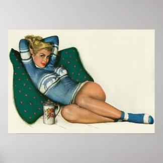 Colorante original 12 del chica modelo del vintage póster