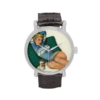 Colorante original 12 del chica modelo del vintage relojes de mano