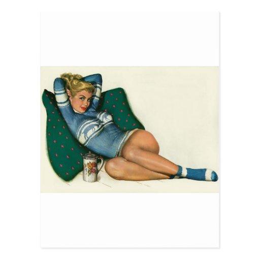 Colorante original 12 del chica modelo del vintage postal