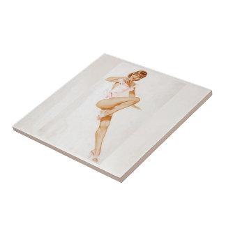 Colorante original 13 del chica modelo del vintage tejas  cerámicas