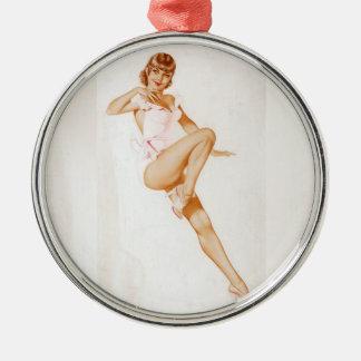 Colorante original 13 del chica modelo del vintage adorno redondo plateado