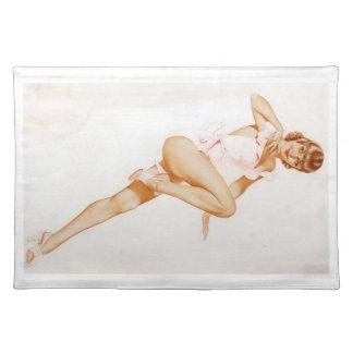 Colorante original 13 del chica modelo del vintage manteles