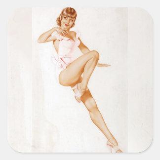 Colorante original 13 del chica modelo del vintage pegatina cuadrada