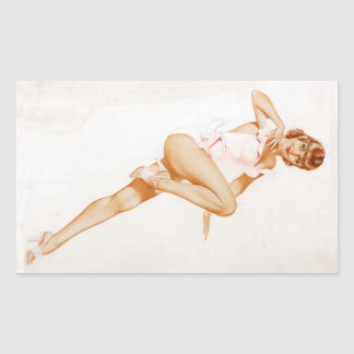 Colorante original 13 del chica modelo del vintage pegatina rectangular