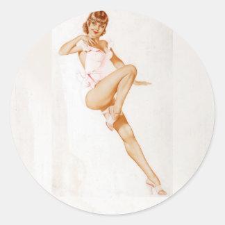 Colorante original 13 del chica modelo del vintage pegatina redonda