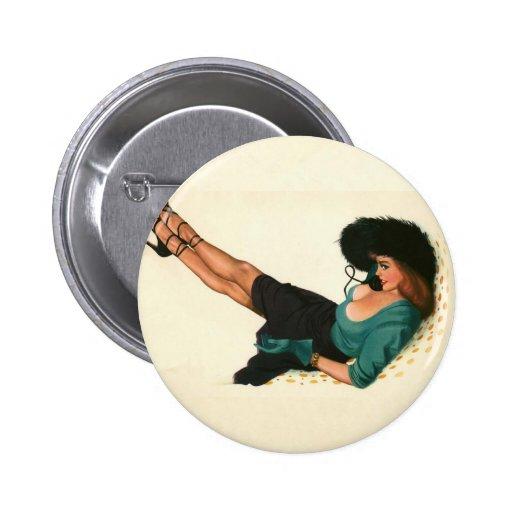 Colorante original 15 del chica modelo del vintage pins