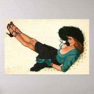 Colorante original 15 del chica modelo del vintage póster