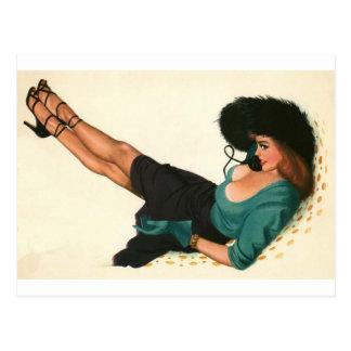 Colorante original 15 del chica modelo del vintage postal