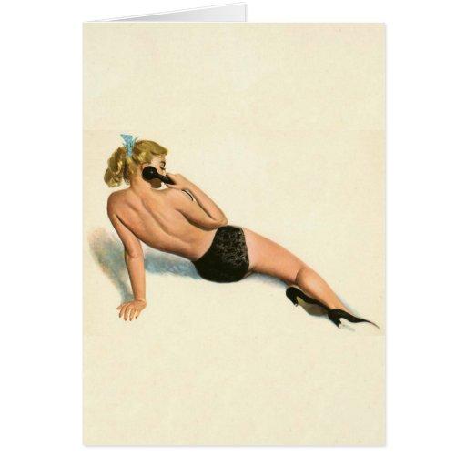 Colorante original 20 del chica modelo del vintage tarjeta de felicitación