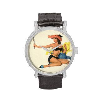 Colorante original 21 del chica modelo del vintage reloj