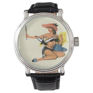 Colorante original 21 del chica modelo del vintage relojes de mano