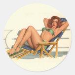 Colorante original 22 del chica modelo del vintage pegatinas redondas