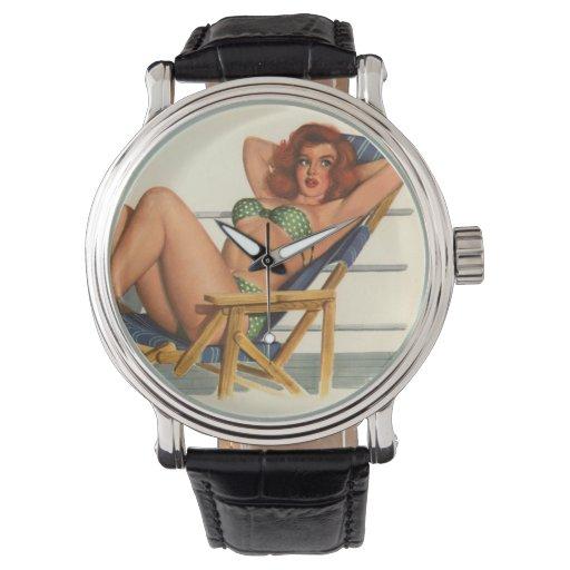 Colorante original 22 del chica modelo del vintage relojes