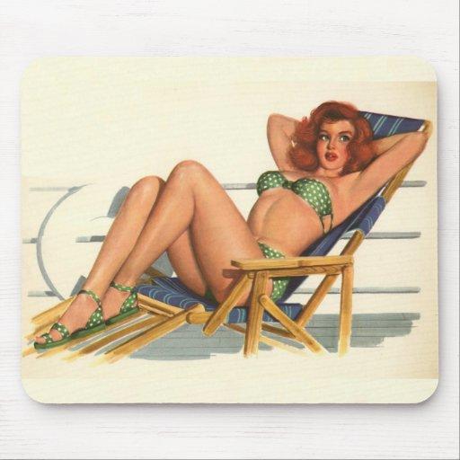 Colorante original 22 del chica modelo del vintage alfombrilla de ratón