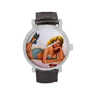 Colorante original 2 del chica modelo del vintage reloj