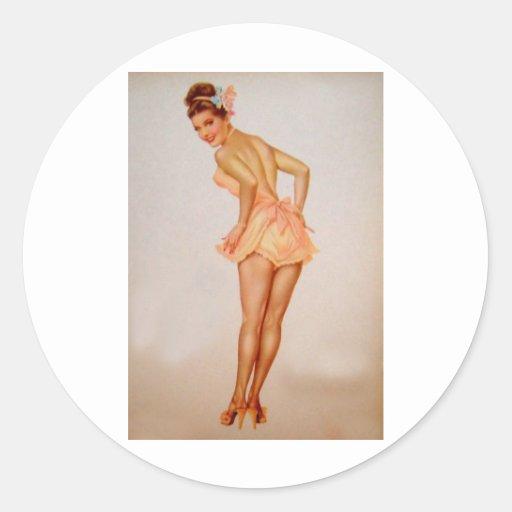 Colorante original 3 del chica modelo del vintage pegatina redonda