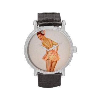 Colorante original 3 del chica modelo del vintage relojes de pulsera