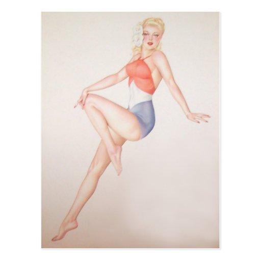 Colorante original 5 del chica modelo del vintage postales