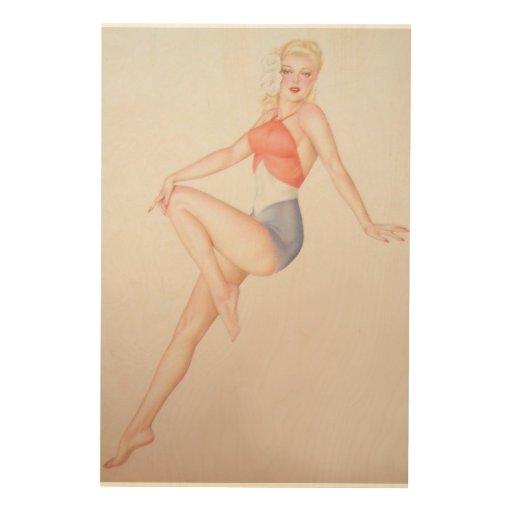 Colorante original 5 del chica modelo del vintage impresión en madera