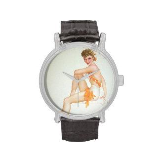 Colorante original 6 del chica modelo del vintage relojes de pulsera