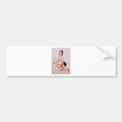 Colorante original 9 del chica modelo del vintage etiqueta de parachoque